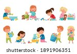cute kids playing with... | Shutterstock .eps vector #1891906351