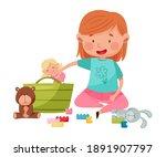 funny girl sitting on floor and ... | Shutterstock .eps vector #1891907797