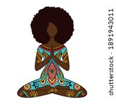 yoga girl. african american... | Shutterstock .eps vector #1891943011