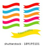 vector flat style ribbons set