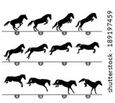 set of 12 jumping horse phases... | Shutterstock .eps vector #189197459