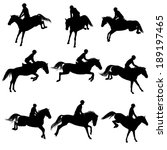 set of a jumping horse with... | Shutterstock .eps vector #189197465
