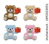 realistic little cute baby bear ... | Shutterstock .eps vector #1892023051