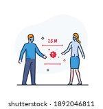 maintaining social distance... | Shutterstock .eps vector #1892046811