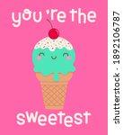 cute ice cream cone cartoon...   Shutterstock .eps vector #1892106787