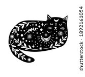 magical black cat with white...   Shutterstock .eps vector #1892161054