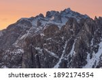 A picture of the Cadini di Misurina mountain range, at sunrise, near Cortina d'Ampezzo, in the Italian Dolomites - stock photo