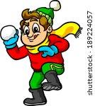 kid throwing snowball | Shutterstock .eps vector #189224057