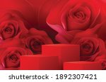 square podium stage red and... | Shutterstock .eps vector #1892307421