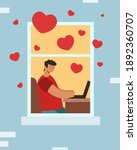 virtual love online. guy with a ...   Shutterstock .eps vector #1892360707