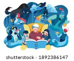 grandmother reading fairy tales ...   Shutterstock .eps vector #1892386147