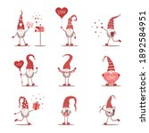 valentines gnomes in red hat.... | Shutterstock .eps vector #1892584951