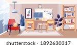 modern home office interior... | Shutterstock .eps vector #1892630317