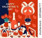 happy valentine day background... | Shutterstock .eps vector #1892686777