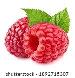 Raspberries Isolated On White...