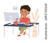 boy sitting at his desk  kid... | Shutterstock .eps vector #1892734234