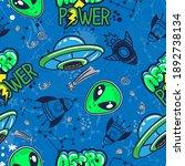 bright seamless space   alien ... | Shutterstock .eps vector #1892738134