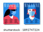 two magazine cover designs ... | Shutterstock .eps vector #1892747224