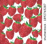 seamless pattern with raspberry ... | Shutterstock . vector #1892765287