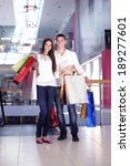 happy young couple with bags in ... | Shutterstock . vector #189277601