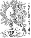 sitting sphinx. ancient greek... | Shutterstock .eps vector #1892821411