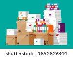 pile of file folders  cardboard ... | Shutterstock .eps vector #1892829844