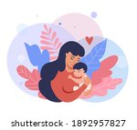 mother holding baby son. happy... | Shutterstock .eps vector #1892957827