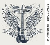 guitar with wings. electric... | Shutterstock .eps vector #1892969611