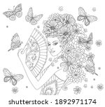 beauty chinese girl with floral ... | Shutterstock .eps vector #1892971174