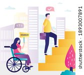 woman with disability...   Shutterstock .eps vector #1893007891
