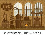 Vector Banner For Winery With...