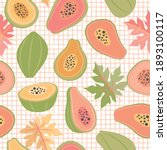 papaya fruit and leaves... | Shutterstock .eps vector #1893100117
