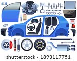 set of car parts. body  chassis ... | Shutterstock .eps vector #1893117751