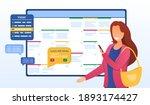 female character planning month.... | Shutterstock .eps vector #1893174427