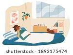 ill female haracter is lying in ... | Shutterstock .eps vector #1893175474