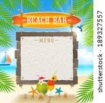 tropical beach bar    signboard ... | Shutterstock .eps vector #189327557