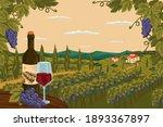 Vineyard Landscape With Grape...