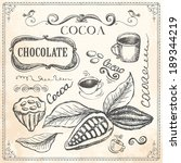 hand drawn cocoa and chocolate...   Shutterstock .eps vector #189344219