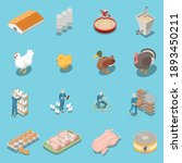 Poultry Farm Isometric Icons...