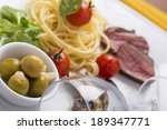 pasta and beef on plate served... | Shutterstock . vector #189347771
