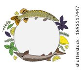 circle frame with river fish... | Shutterstock .eps vector #1893517447