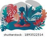 black girl does yoga on a mat...   Shutterstock .eps vector #1893522514