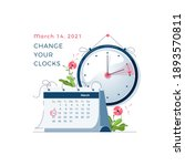 daylight saving time begins... | Shutterstock .eps vector #1893570811