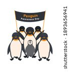group of penguins with a poster ... | Shutterstock .eps vector #1893656941