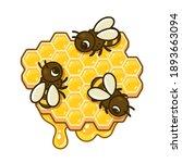 cute cartoon bees on honeycomb... | Shutterstock .eps vector #1893663094