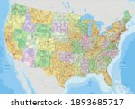 complex usa political map with... | Shutterstock .eps vector #1893685717