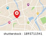 3d top view of a map with... | Shutterstock .eps vector #1893711541