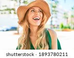 young beautiful blonde woman on ... | Shutterstock . vector #1893780211