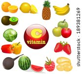 illustration vitamin c in foods ... | Shutterstock . vector #189381269
