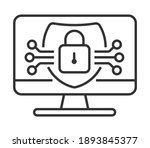 cyber security icon vector. hud ... | Shutterstock .eps vector #1893845377